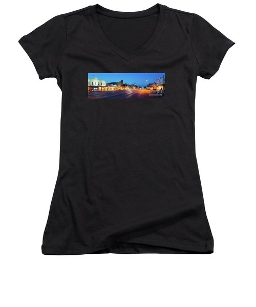 Early Morning Panorama Of Fredericksburg Main Street - Gillespie County Texas Hill Country Women's V-Neck