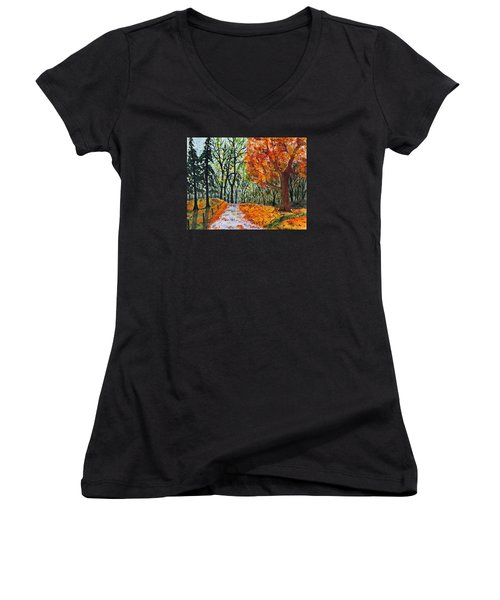 Women's V-Neck T-Shirt (Junior Cut) featuring the painting Early October by Jack G  Brauer