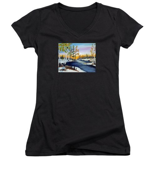 Women's V-Neck T-Shirt (Junior Cut) featuring the painting Early Snow Fall by Jack G Brauer
