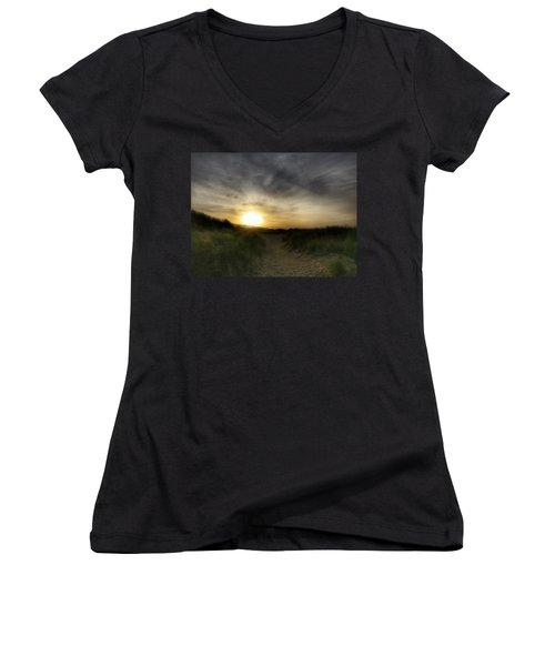 Early Winter Sun Women's V-Neck T-Shirt