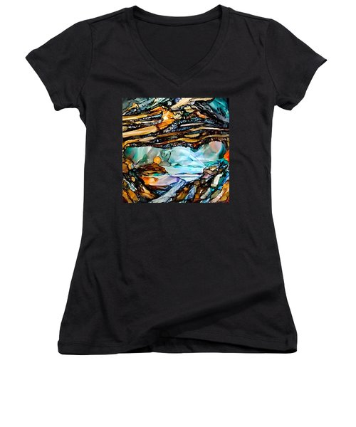 Earth Day Underground Paradise Alcohol Inks Women's V-Neck (Athletic Fit)