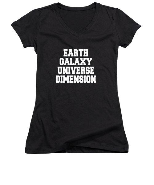 Earth Galaxy Universe Dimension Women's V-Neck