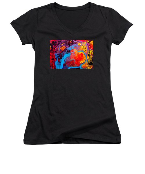 Earth Water Wind Fire - Abstract Painting Women's V-Neck T-Shirt (Junior Cut) by Modern Art Prints