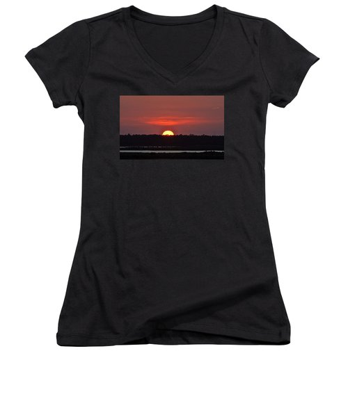 Women's V-Neck T-Shirt (Junior Cut) featuring the photograph Ease Into Night... by John Glass