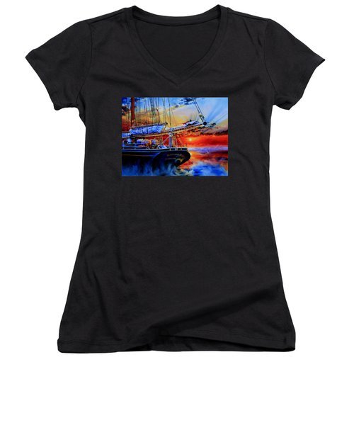 Women's V-Neck T-Shirt featuring the painting Red Sky In The Morning by Hanne Lore Koehler