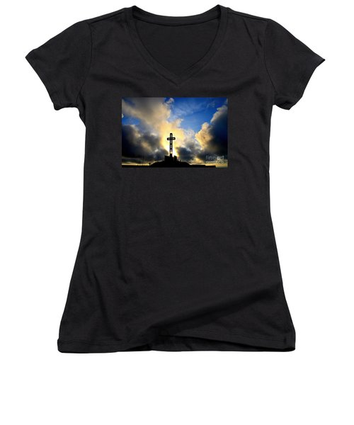 Easter Cross Women's V-Neck T-Shirt (Junior Cut) by Sharon Soberon