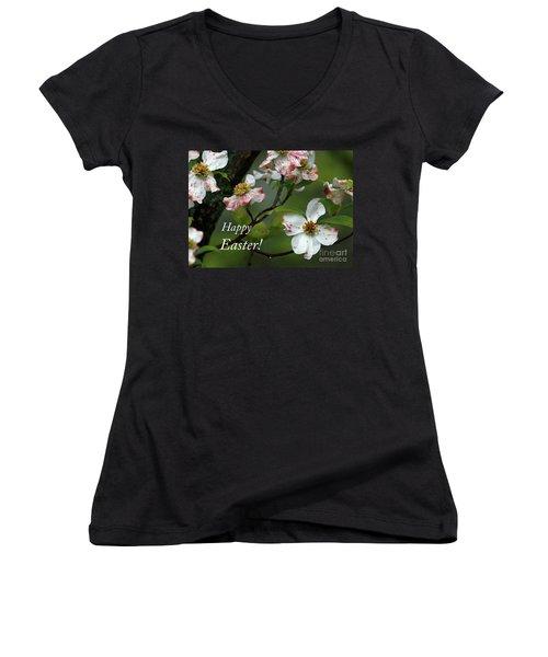 Easter Dogwood Women's V-Neck T-Shirt (Junior Cut) by Douglas Stucky
