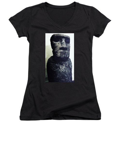 Women's V-Neck T-Shirt (Junior Cut) featuring the painting Easter Island Stone Statue by Eric  Schiabor