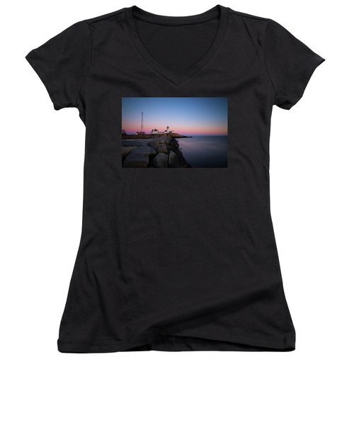 Women's V-Neck featuring the photograph Eastern Point Sunset 2 by Brian Hale