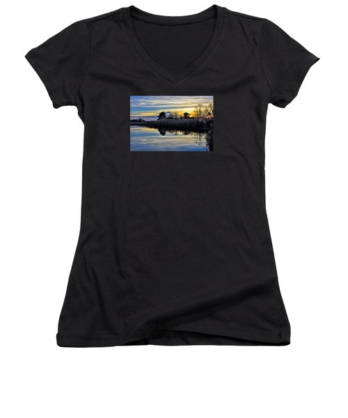 Women's V-Neck T-Shirt (Junior Cut) featuring the photograph Eastern Shore Sunset - Blackwater National Wildlife Refuge - Maryland by Brendan Reals