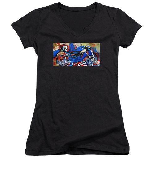 Easy Rider Captain America Women's V-Neck T-Shirt (Junior Cut) by Eric Dee