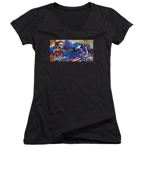 Easy Rider Captain America Women's V-Neck (Athletic Fit)