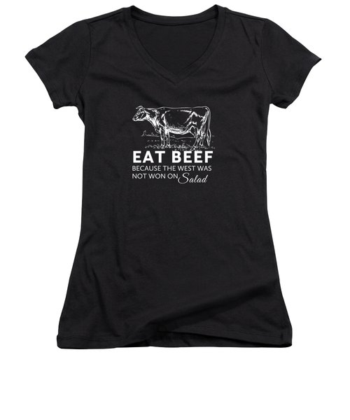 Eat Beef Women's V-Neck (Athletic Fit)