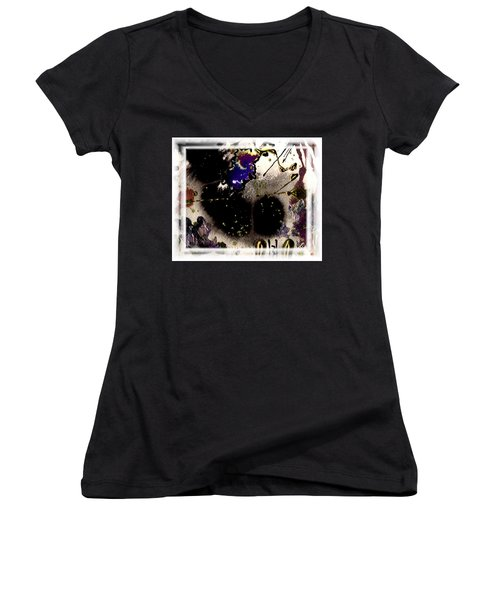 Women's V-Neck T-Shirt (Junior Cut) featuring the mixed media Ebony Nights by Angela L Walker