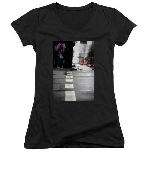 Women's V-Neck T-Shirt (Junior Cut) featuring the photograph Echoes In The Rain Drops  by Empty Wall