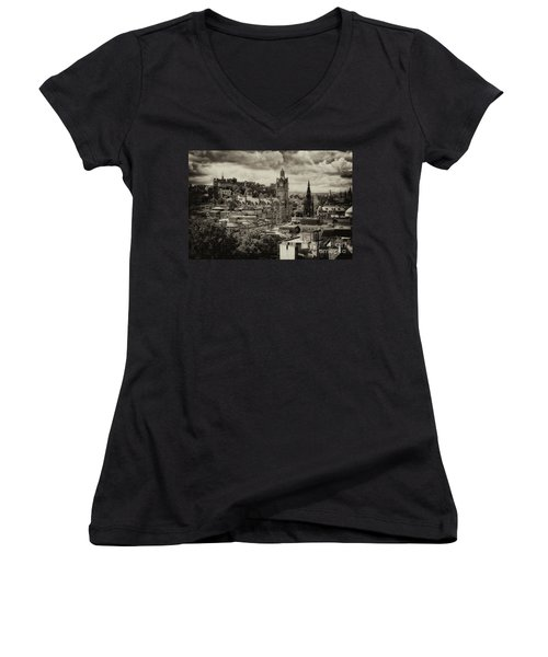Women's V-Neck T-Shirt featuring the photograph Edinburgh In Scotland by Jeremy Lavender Photography