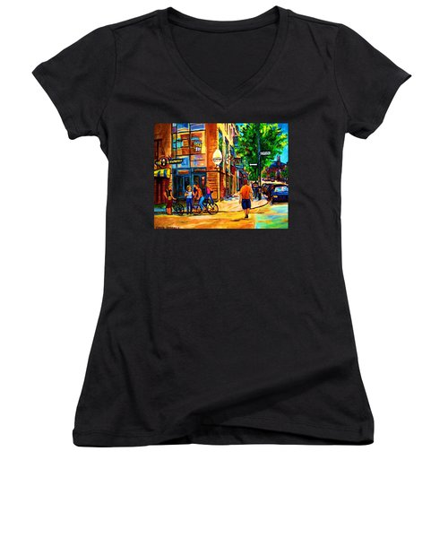 Women's V-Neck T-Shirt (Junior Cut) featuring the painting Eggspectation Cafe On Esplanade by Carole Spandau