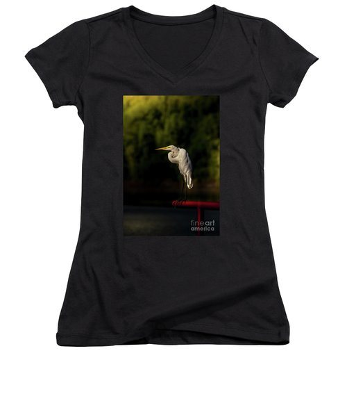 Women's V-Neck T-Shirt (Junior Cut) featuring the photograph Egret On Deck Rail by Robert Frederick