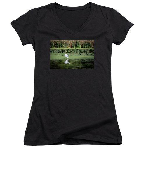 Egret Over Wetland Women's V-Neck T-Shirt (Junior Cut) by Ray Congrove