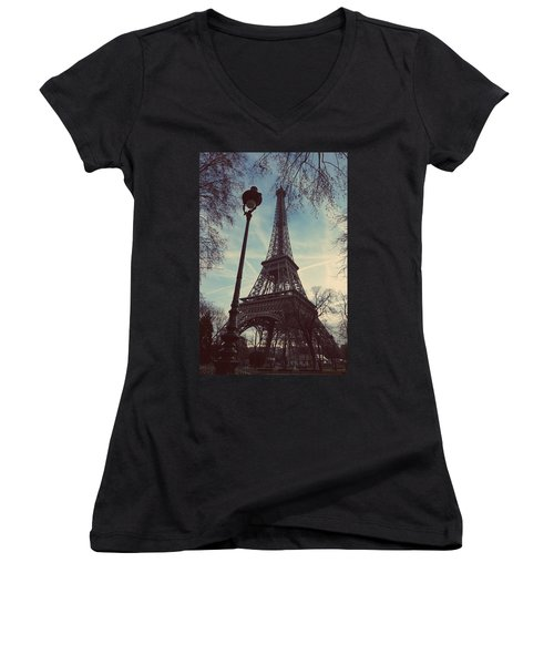 Eiffel Tower And Lampost Women's V-Neck T-Shirt