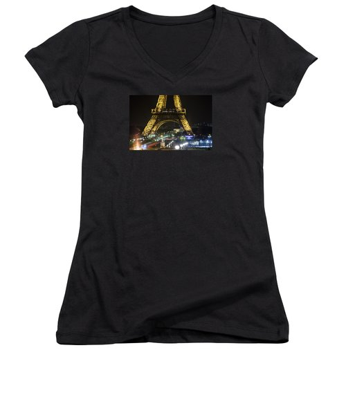 Women's V-Neck T-Shirt (Junior Cut) featuring the photograph Eiffel Tower by Andrew Soundarajan