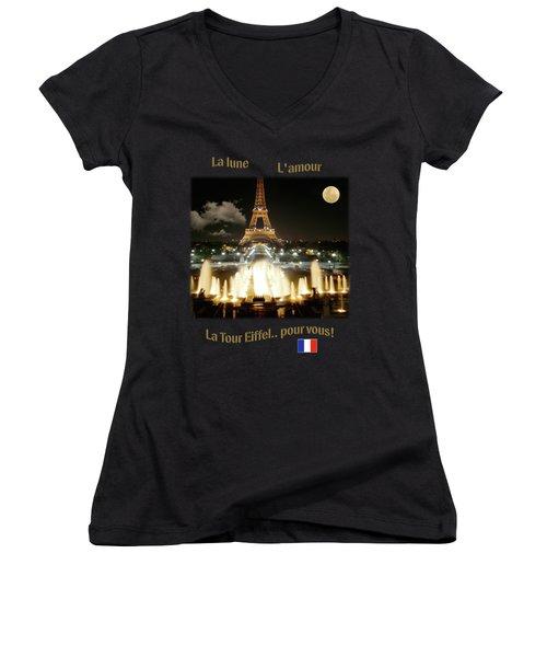 Eiffel Tower At Night Women's V-Neck T-Shirt (Junior Cut) by Jon Delorme