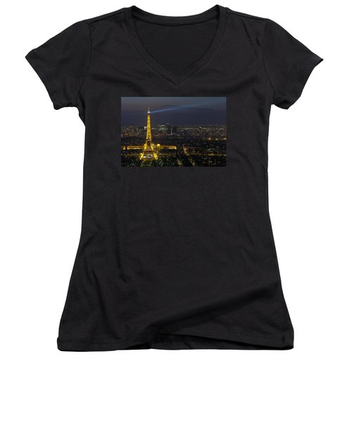Eiffel Tower At Night Women's V-Neck T-Shirt (Junior Cut) by Sebastian Musial