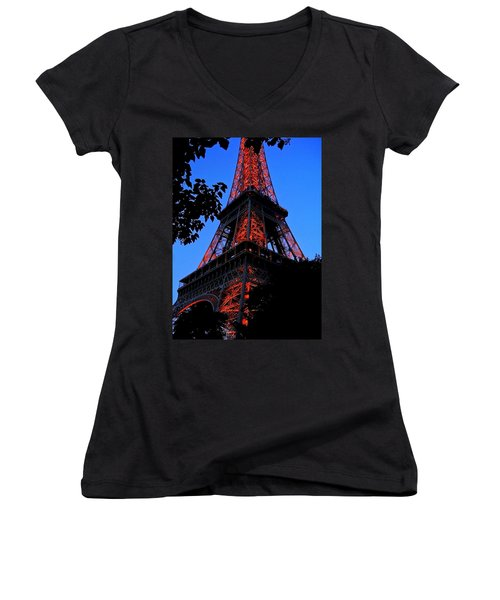 Eiffel Tower Women's V-Neck T-Shirt (Junior Cut) by Juergen Weiss