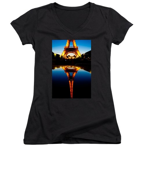 Eiffel Tower Reflection Women's V-Neck (Athletic Fit)