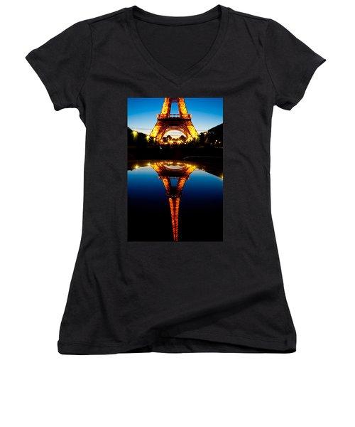 Eiffel Tower Reflection Women's V-Neck T-Shirt