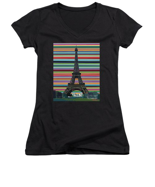 Women's V-Neck featuring the painting Eiffel Tower With Lines by Carla Bank