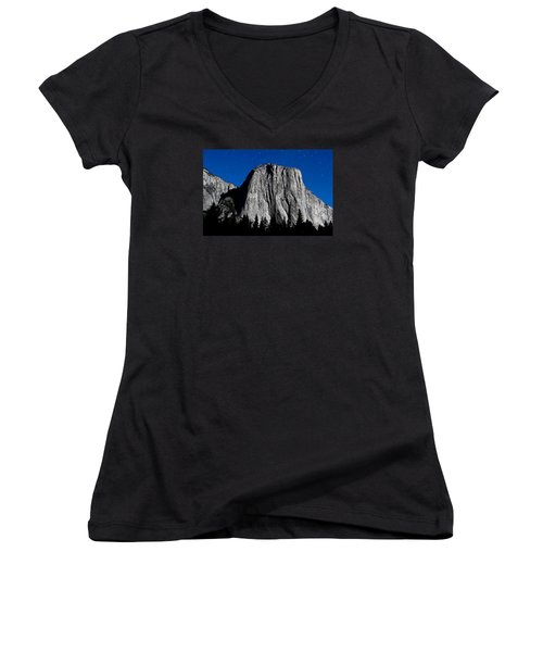 El Capitan Under A Full Moon Women's V-Neck T-Shirt (Junior Cut) by Rick Furmanek