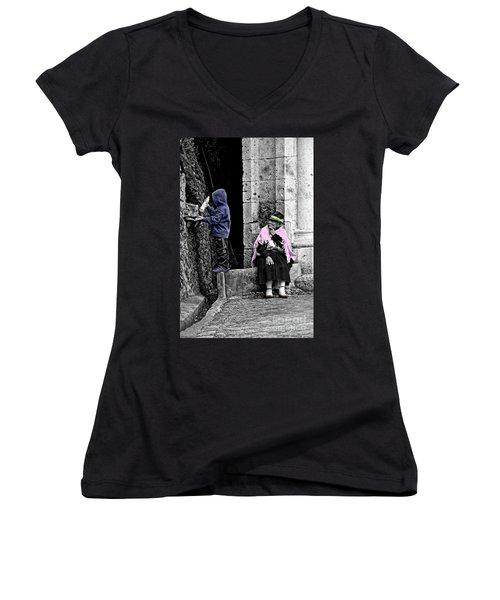 Women's V-Neck T-Shirt (Junior Cut) featuring the photograph Elderly Beggar In Biblian II by Al Bourassa