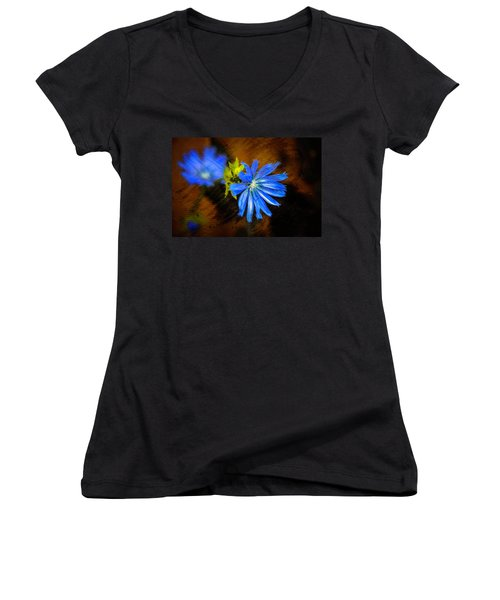 Electric Blue Women's V-Neck T-Shirt
