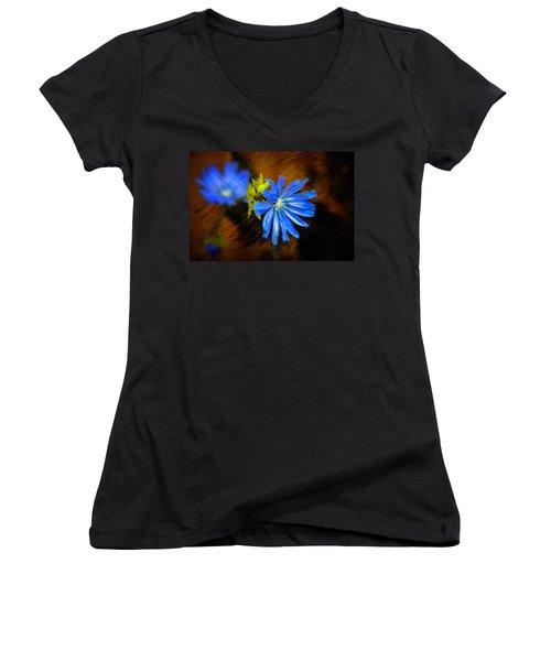 Electric Blue Women's V-Neck T-Shirt