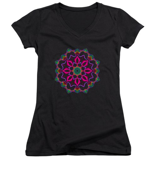 Electric Fractal Flower Women's V-Neck
