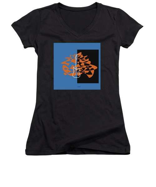 Electric Guitar In Blue Women's V-Neck T-Shirt