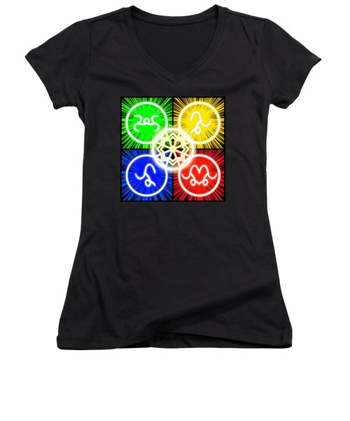 Women's V-Neck T-Shirt featuring the digital art Elements Of Consciousness by Shawn Dall