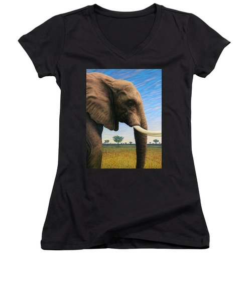 Elephant On Safari Women's V-Neck