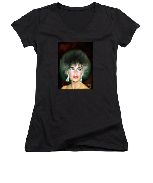 Women's V-Neck T-Shirt (Junior Cut) featuring the painting Elizabeth 2 by Andrzej Szczerski