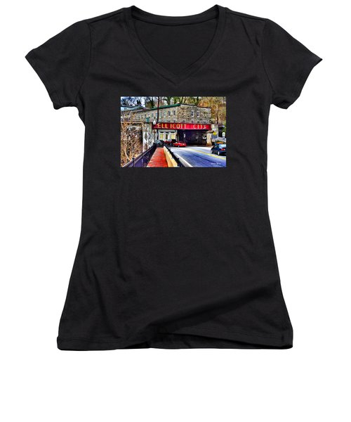 Ellicott City Women's V-Neck T-Shirt (Junior Cut) by Stephen Younts