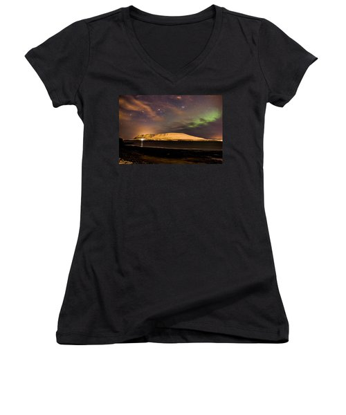 Elv Or Troll And Viking With A Sword In The Northern Light Women's V-Neck (Athletic Fit)