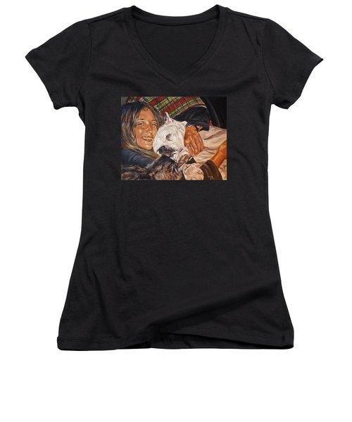 Elvis And Friend Women's V-Neck T-Shirt (Junior Cut) by Bryan Bustard