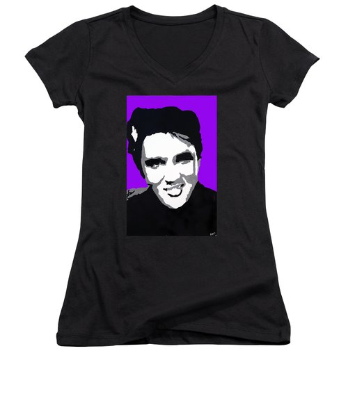 Women's V-Neck T-Shirt (Junior Cut) featuring the drawing Elvis Don't Live Here Anymore by Robert Margetts
