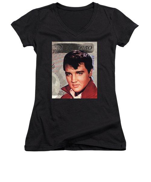 Elvis Presley Women's V-Neck T-Shirt (Junior Cut) by Unknown