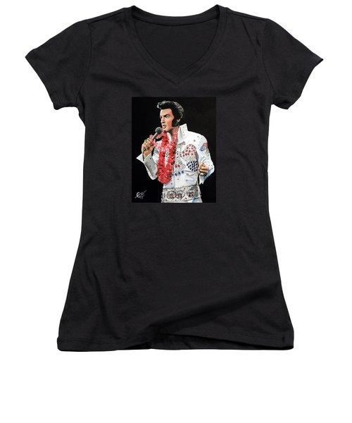 Elvis Women's V-Neck T-Shirt (Junior Cut) by Tom Carlton
