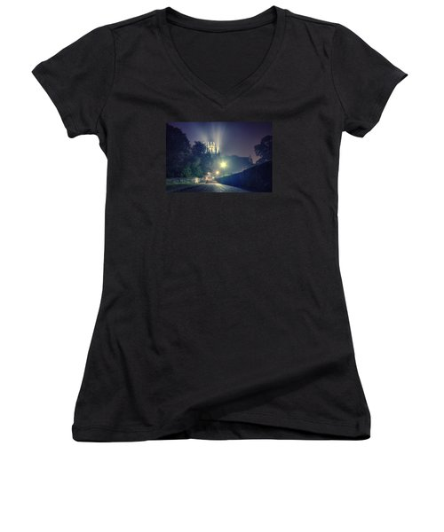Ely Cathedral - Night Women's V-Neck T-Shirt