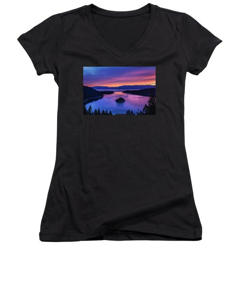 Emerald Bay Clouds At Sunrise Women's V-Neck T-Shirt (Junior Cut) by Marc Crumpler