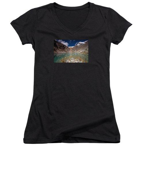 Emerald Mountain Lake Women's V-Neck T-Shirt