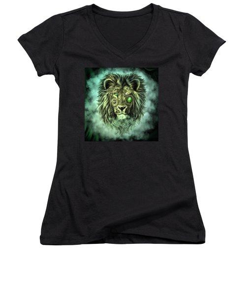 Emerald Steampunk Lion King Women's V-Neck